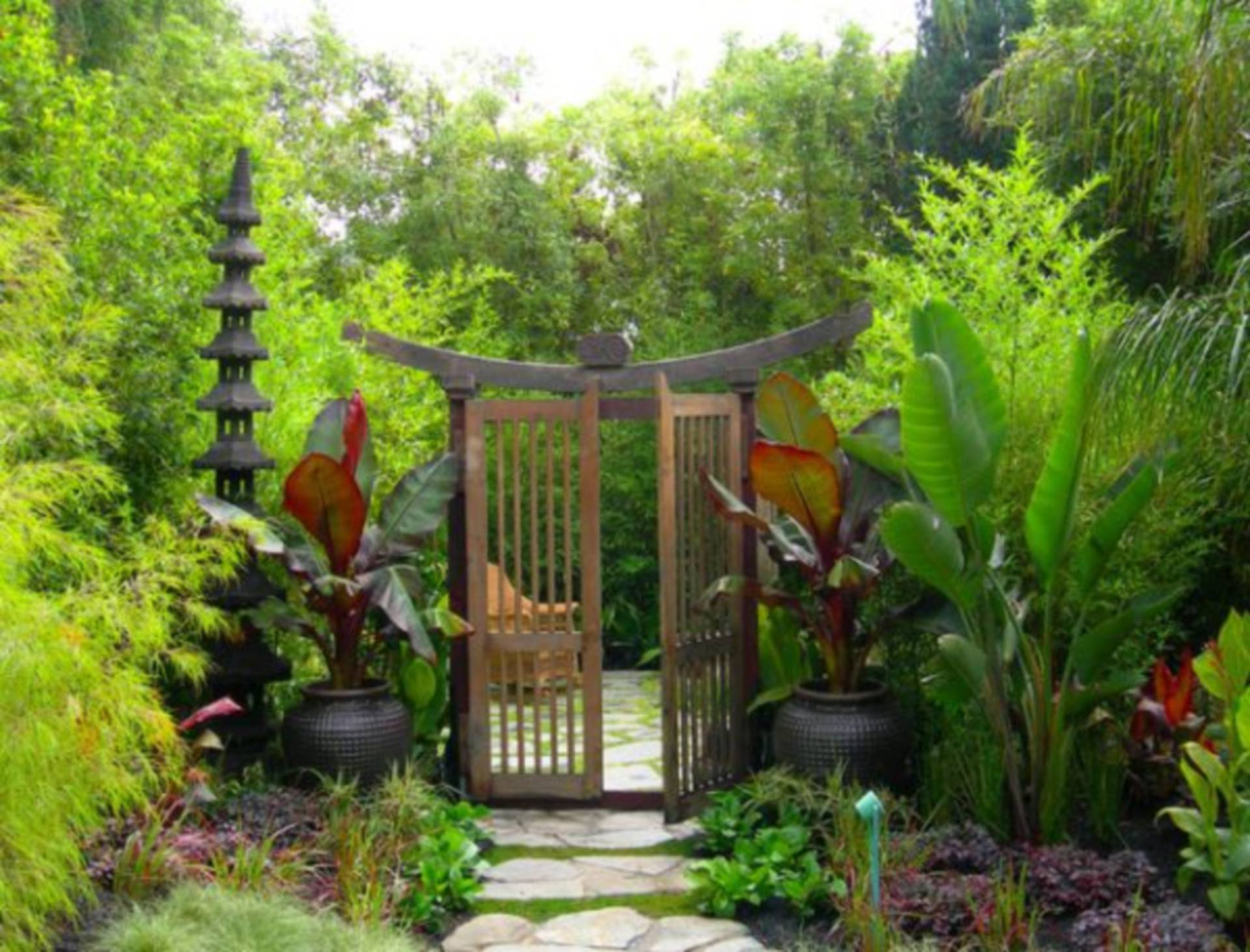 japanese garden with arbor