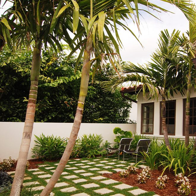 ropical stone garden patio